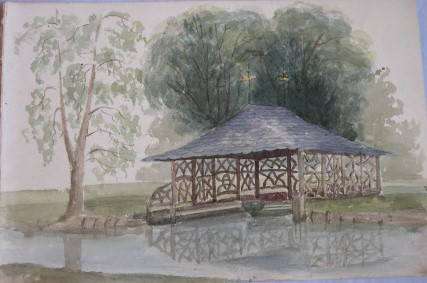 The Boat Deck in the Wilderness from the west side of the river Witham looking east by possibly Lady Sophia Frances Cust, Lady Tower (1811-1882)